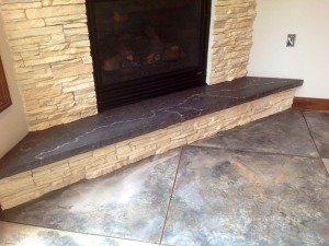 Charcoal Colored Fire Place Hearth White Vein