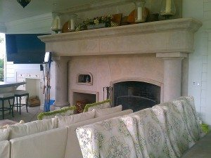 Tan Cast Concrete Fire Place Surround and Mantle