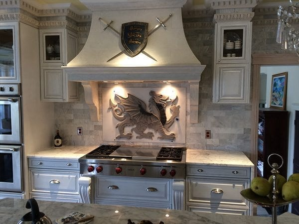 White Concrete Kitchen Range Hood