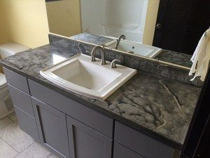 Charcoal Veined Cocnrete Bath Vanity Top