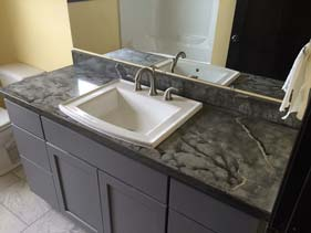 Charcoal Veined Concrete Bath Vanity Top Sink