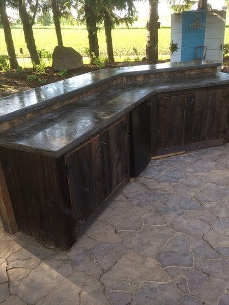 Gray Natural Stone Outdoor Kitchen Concrete Counter Top