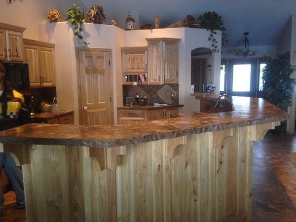Tan Natural Stone Rock Face Concrete Bar Top