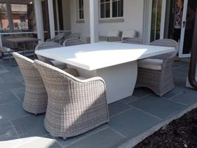 Lightweight Concrete Patio Table Solid White
