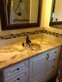 Brown Veined Concrete Bathroom Vanity
