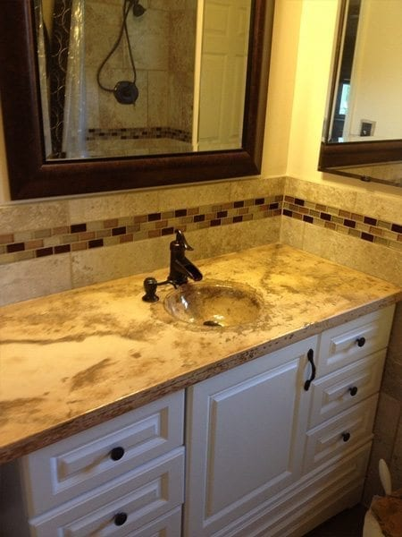 concrete look bathroom vanity top tan brown glass tile countertops how to make