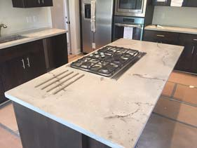 White Travertine Concrete Counter
