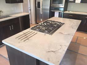 White Travertine Concrete Counter Top Kitchen Island