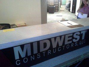 Light Gray Concrete Reception Desk