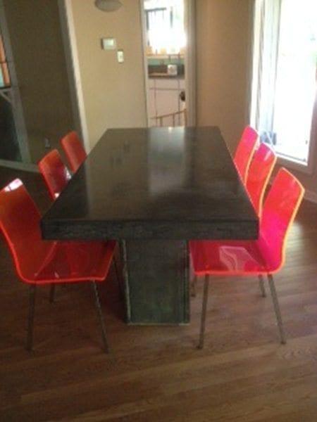 Dark Grey Concrete Dining Table