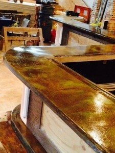 Brown Stained Concrete Counter Top