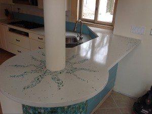 Blue Glass Terrazzo White Concrete Counter top