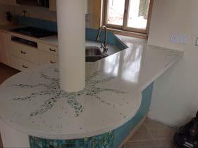 Glass Terrazzo White Concrete Counter top