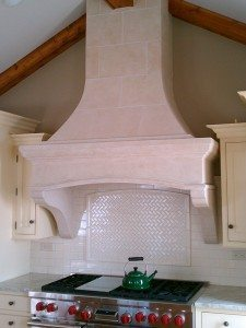 Tan Cast Concrete Range Hood
