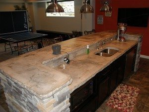 White Stone Slab Concrete Counter Top