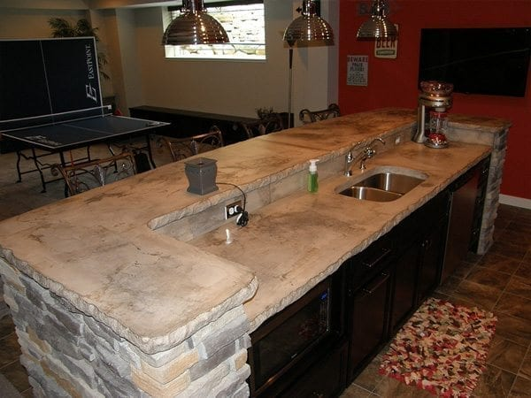 Thin Countertop Options : White Stone Slab Concrete Counter Top