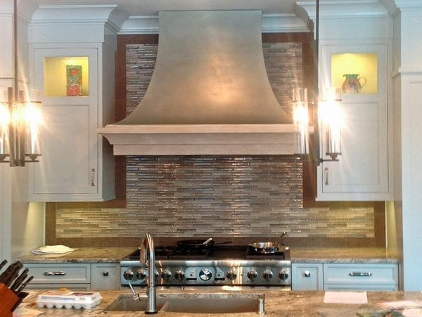 Tan and Gray Seamless Concrete Range Hood