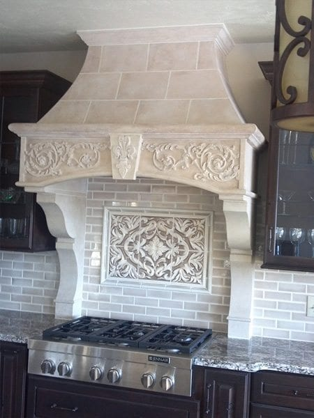 Tan Cast and Sculpted Filigree Range Hood