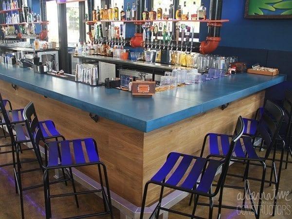 Solid Blue Concrete Bar Top
