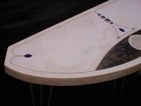 White Precast Concrete Table with Blue Jewel Inlays