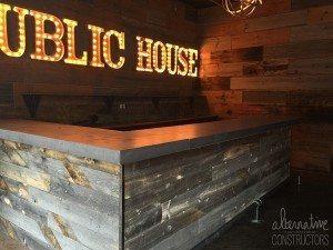 Gray Concrete Bar Top Wood Plank Base