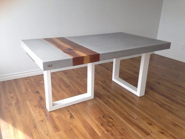 Smooth Gray Concrete Table With Wood Plank Inlay