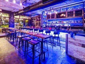 Blue Backlit Concrete Bar Top