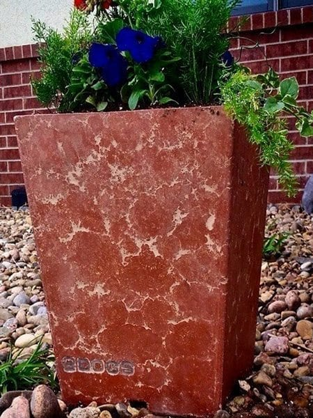 Pressed Technique Red Cast Concrete Planter