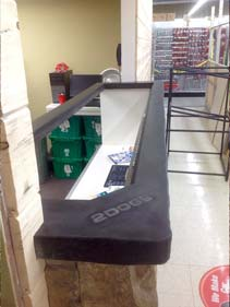 Charcoal Concrete Reception Desk with Inlaid Display