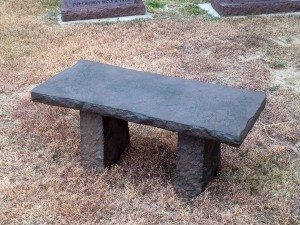 Antique Faux Stone Cast Taupe Concrete Rock Bench
