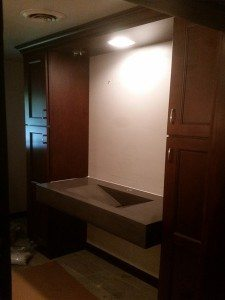 Dark Brown Concrete Bathroom Vanity Counter