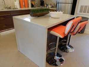Thin White Concrete Kitchen Counter Top