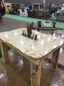 Faux Wood Tan Outdoor Concrete Patio Table