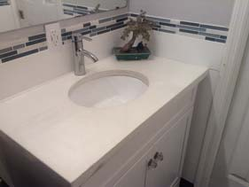 White Bathroom Concrete Counter Top