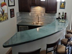 Residential Concrete Wet Bar in Aqua