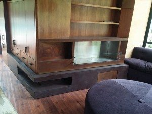 Purple Custom Concrete Cabinetry and Fireplace