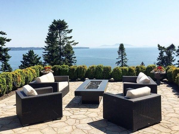Black Cast Concrete Outdoor Fire Table