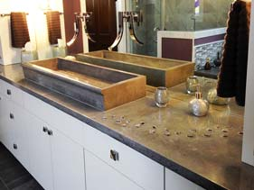 Brown and Dark Tan Concrete Bathroom Vanity
