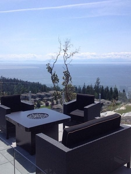 Outdoor Patio Black Concrete Fire Table
