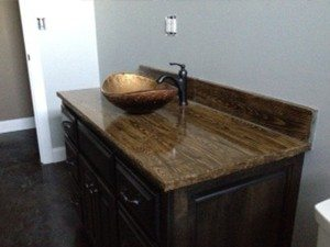 Wood Grain Concrete Bath Vanity Stained Brown
