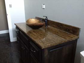 Wood Grain Concrete Bath Vanity Stained Brown