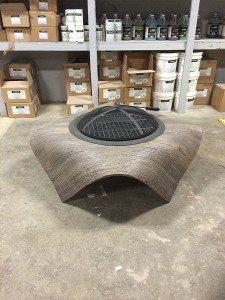 Beige Bent Wood Cast Concrete Fire Table