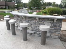 Grey and White Cast Concrete Bar Stools