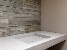 Solid White Concrete Bath Vanity Shallow Sink