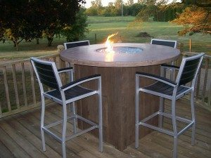 Tan Outdoor High Top Concrete Fire Table