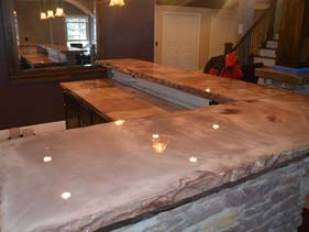 Rock Face Concrete Counter Top Stained Tan