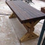Stained Brown Wood Concrete Patio Table