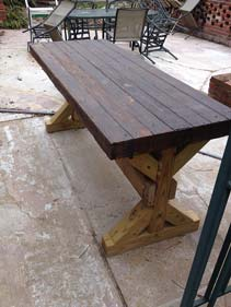 Brown Wood Concrete Patio Table