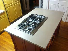 Thin Light Grey Kitchen Concrete Island Top