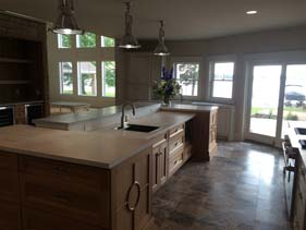 White Grey and Tan Concrete Kitchen Counter Top